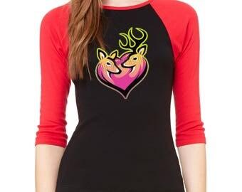 PREMIUM Raglan Shirt Pink Deer Heart Browning Deer Love 3/4 Sleeve Couple Deer Raglan Baseball Shirt