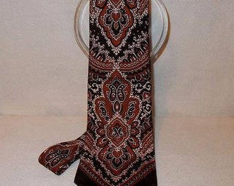 Vintage Mens Psychedelic Brown Beige Qiana Nylon Paisley May Company Mens Store Classic Necktie Neck Tie