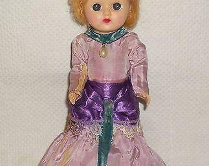 "8"" Vintage 70s Cosmopolitan Ginger Hard Plastic Doll Blue Sleep Eyes Strawberry Blonde Wig In Original Gibson Girl Purple Dress"