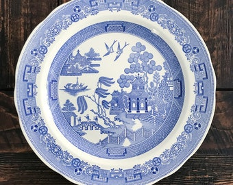 Vintage Blue and White Transferware Plate Spode Willow