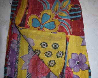 Indian Handmade Quilt Vintage Kantha Bedspread Throw Cotton Blanket Gudari Twin 2300  BY artisanofrajasthan