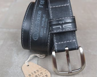 Vegan belt made of bicycle hose/black with print/100 cm waist circumference