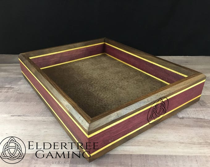 Premium Dice Tray - Table Top Sized - King's Court With Leather Rolling Surface - Eldertree Gaming