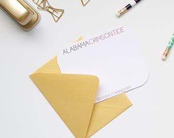 Personalized Stationery, Alabama Stationery, Collegiate Stationery, College Stationery, Custom Stationery, Flat Notecards