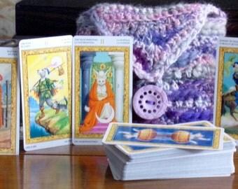Tarot of White Cats Mini Deck & Bag, Mini Tarot Deck, Crocheted Tarot Bag, Tarot Deck + Bag
