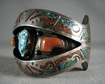 Absolutely Incredible Vintage Navajo Turquoise Coral Wave Silver Bracelet