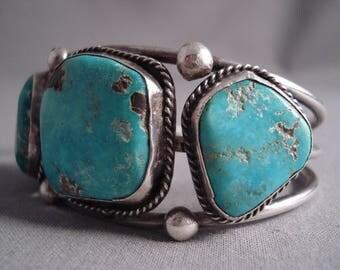 Huge Deep Ocean Blue Vintage Navajo Turquoise Silver Bracelet