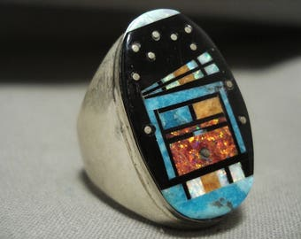 Huge Midnight Space Kachina Navajo Turquoise Silver Ring