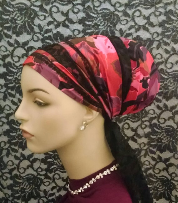 Fabulous silky cotton and black lace sinar tichel, tichels, head scarves, chemo scarves, head wraps
