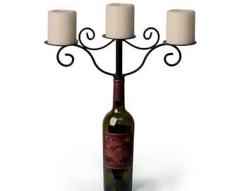 GM10350 Danya B™ Wrought Iron Wine Bottle 3-candle Chandelier