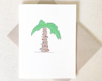 Christmas Tree Card, CHRISTMAS PALM TREE Card, California Christmas, Florida Christmas, Christmas Lights, Merry and Bright, Palm Tree Card