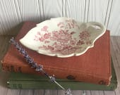 Vintage White Ironstone - Royal Crownford - Leaf Dish - Small Dish - Cottage Chic Decor - Home Decor - Red Floral - Farmhouse Style