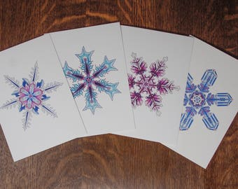 Snowflake card set, card assortment, 4 for price of 3, card set, Christmas card, Winter card, discount greeting card set, holiday card