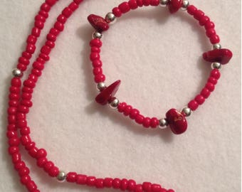 RUBY RED - Beaded jewelry set