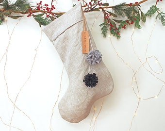 Personalised Linen Christmas Stocking with leather name tag and pom poms, Personalized linen stocking, Natural Christmas stocking