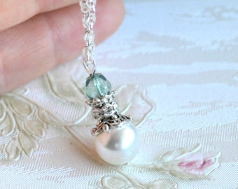 Light Blue necklace Blue Bridesmaid jewelry Blue bridesmaid gift Bridesmaid necklace Light blue wedding necklace
