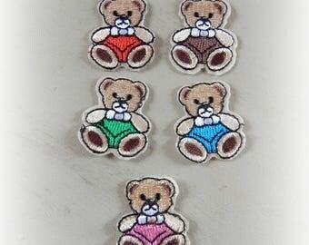 5 fusible badges patches / appliques bear Teddy bear 3.3 * 3 cm