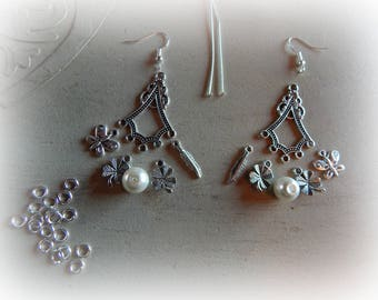 Kit with 5 petals, clover charms and pearls chandelier earrings / feather / butterfly