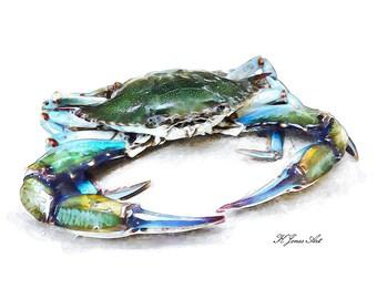Blue Crab Watercolor Print, Coastal Wall Art, Crab Painting