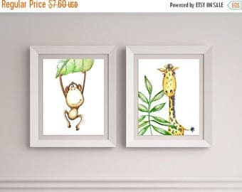 LARGE PRINT SALE 60 Percent Off Set of Two 8x10 Safari animals, Kids room decor, Giraffe picture, Safari theme, Baby shower gift, Monkey bab
