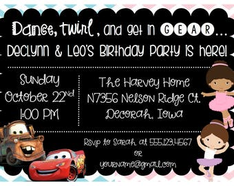 Cars and Tutus combined Birthday Party