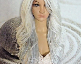 White platinum gray hair lace front wig 24'' heat resistant synthetic.