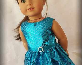 "Blue Faux Sequins Party Dress Clothes for 18"" Dolls like American Girl My Life or Our Generation"