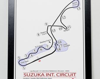 Japanese Grand Prix Suzuka Track illustration Poster