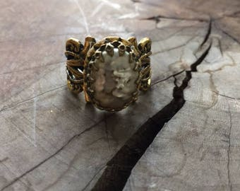 Vintage Ring Reproduction with Vintage Miriam Haskell Decoration