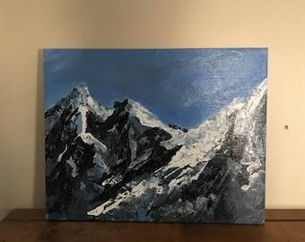Freeform Mountains Acrylic Painting