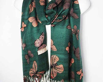 New Whimsical Green Butterfly Print Pashmina Scarf Shawl Wrap