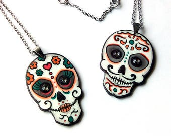 Sugar skull jewelry, Calavera necklace, Halloween pendant, Handmade jewelry, Day of the dead gift, Dia de los muertos