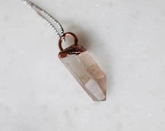 Pink Lemurian Quartz Necklace, electroformed necklace, crystal necklace, wiccan, boho, hippie, global,festival jewelry