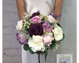Wedding Bouquet, Plum Bouquet, Lavender Bouquet, Bridal Bouquet, Artificial Bouquet, Silk Bouquet, Corsage, Boutonniere