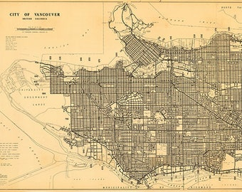 Vancouver, British Columbia, Canada in 1980.  Vintage restoration hardware home Deco Style old wall reproduction map print.