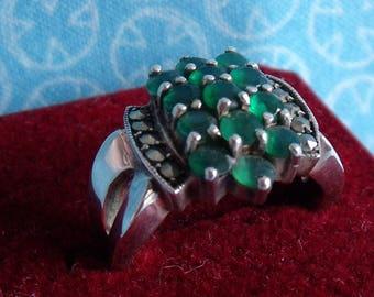 Vintage Emerald Marcasite Cluster Ring Sterling Size 5.75