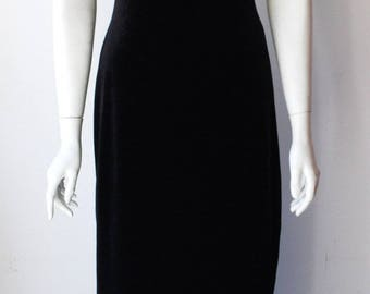 Vintage Spagetti Black Velour Maxi Dress Size S