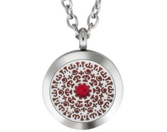 """Essential Oil Diffuser Necklace Aromatherapy Jewelry Stainless Steel Locket Pendant 24"""" Adjustable Chain, 15 Refill Felt Pads (Grace)"""