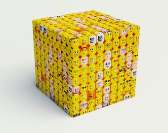 Smile Cube, yellow ottoman cube, lego, funny cube, playroom, home decor, indoor, novelty