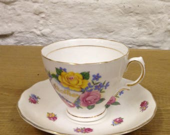 Vintage Royal Vale Mother Fine Bone China 1960's Cup & Saucer with Floral Design. In Great Condition