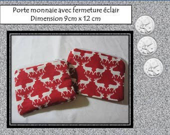 COIN door 11 cm x 16 cm with zipper - model deer, chickens, ballet, cats, foxes