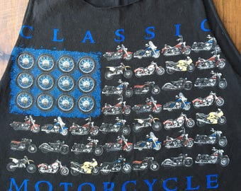 Vintage motorcycle crop tank XL