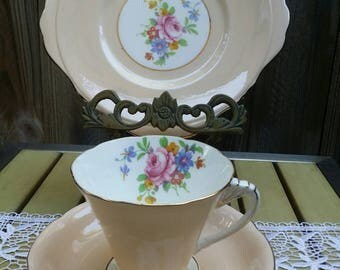 Art Deco English Fine Bone China Royal Grafton Trio-Cup Saucer and Side Plate