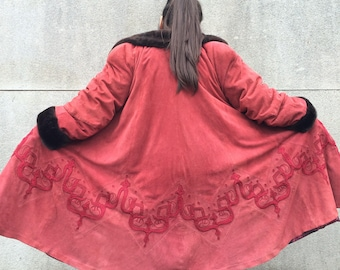 Vintage 90s Red Suede Embroidered Coat with Fur Collar & Cuffs M L 10 12 14 16