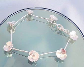 Silver Poppies, poppy bracelet, poppy jewelry, silver bracelet, garland, flower chain, poppy linked chain, silver jewellery, UK gift for her