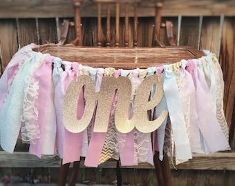 Rag Tie Garland, ONE High Chair Banner, 1st Birthday Pink Decor, Photo Prop, Birthday Banner,