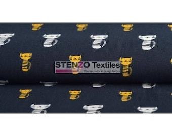 Cat - Black, Organic Cotton Lycra Jersey Knit Fabric