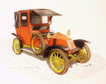 Original watercolor painting old car Renault AG1 1905 / handmade painting on paper
