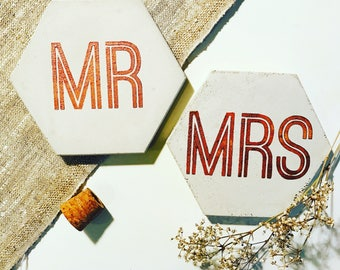 Mr and Mrs Concrete Hexagon Coasters Industrial Geometric