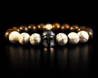 Vintage silver Greek Gladiator Warrior collection, natural stones, iron Tiger Eye, turquoise, white, elastic Bracelet